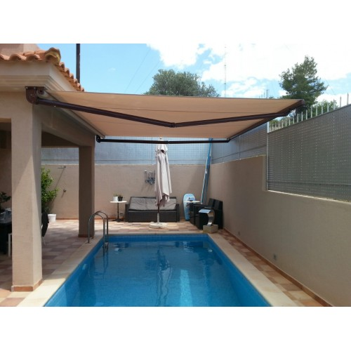 Square Bar Folding Arm Awnings Made in Greece