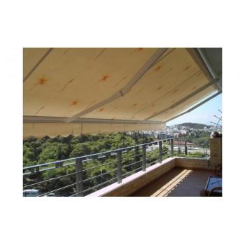 Τέντες - Πέργκολες - Κασετίνες - iliokalipsi.gr - Τέντα με ύφασμα DICKSON εμπριμέ - Τέντες με βραχίονες Ελληνικής κατασκευής